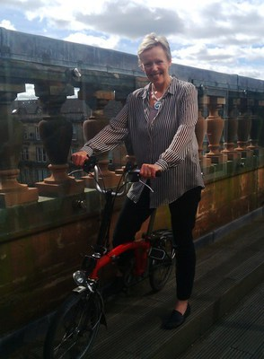 Fiona and her Brompton bicycle