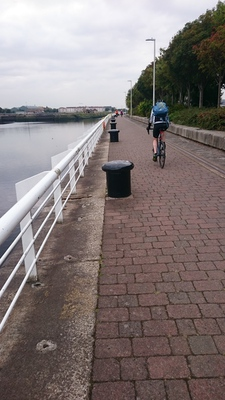 Rachel cycles along the Clyde