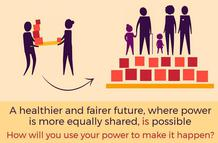 Power graphic - text reads 'A healthier and fairer future, where power is more equally shared, is possible. How will you use your power to make it happen?'