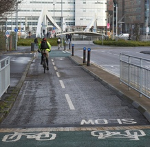 A segregated cycle route on the South West City Way